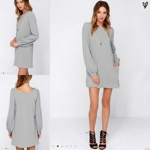 Lulus Status Update Long Sleeve Shift Dress Preppy
